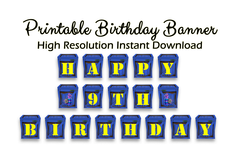 graphic regarding Printable Happy Birthday Banners titled Printable Satisfied Birthday Banner, Gamer, eliminate box Movie Match, Blue Crate, Loot, Beat, Quick downlod, Gaming, Indicator, Social gathering Decor, llama, fort, social gathering,