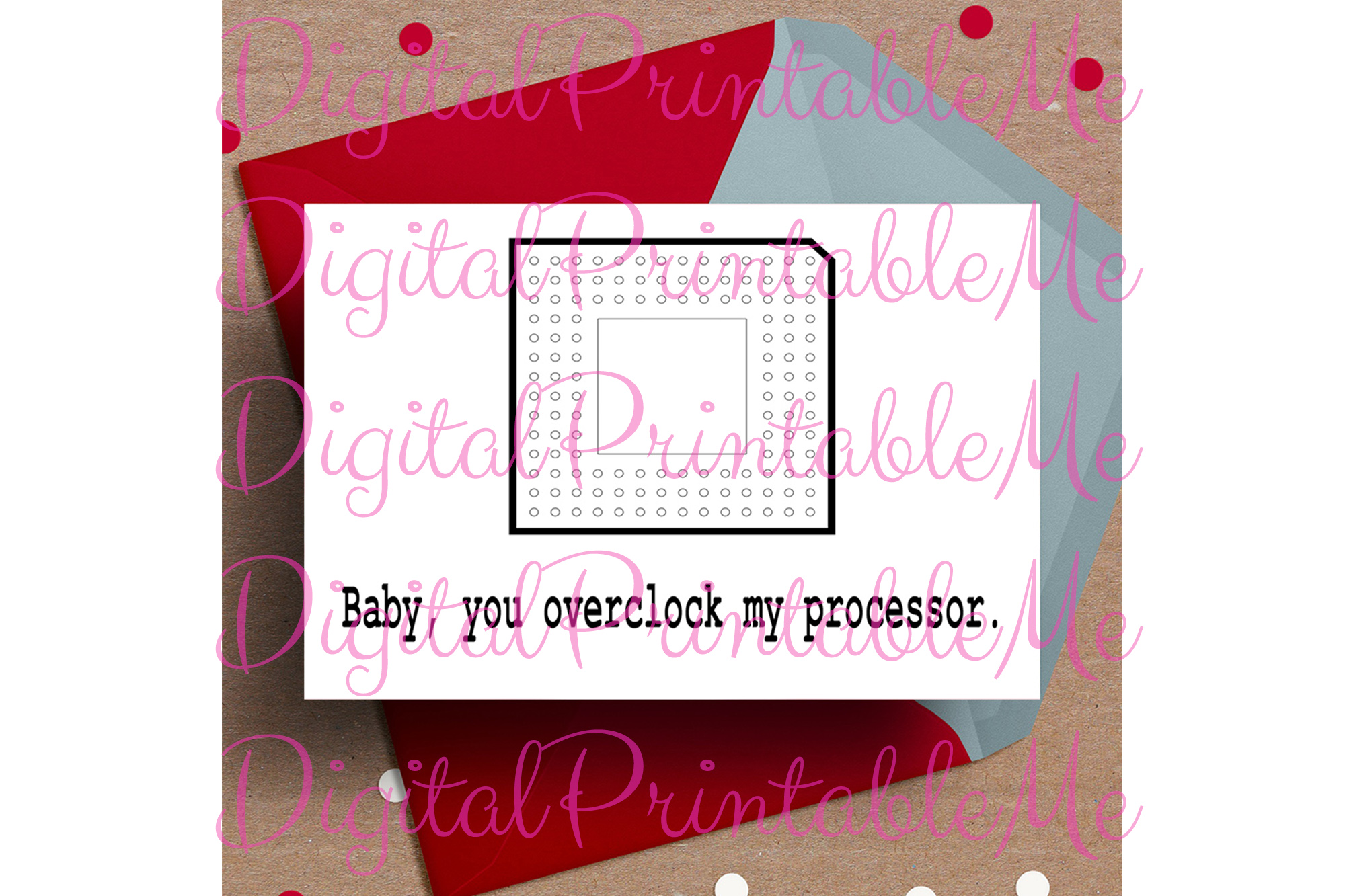 photo relating to Funny Printable Valentines titled Printable Valentines working day card Little one on your own overclock my