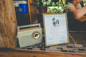 My adorable vintage radio fit in perfectly on the bar!! I made this cute little sign for those drinking. No drinking and driving at our wedding!