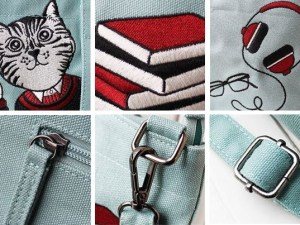 Canvas Schoudertas met Kattenprint