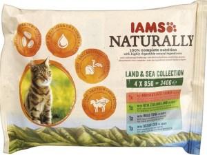 IAMS Naturally Natvoer Land & zee collectie 4 x 85g