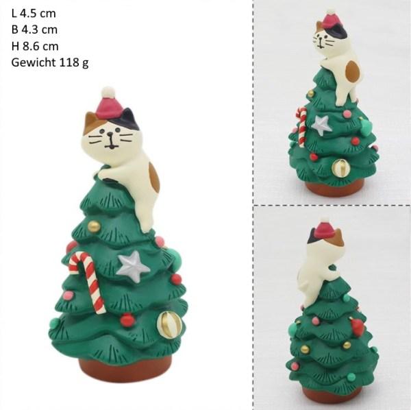 Een kat op een kerstboom Kerst Kattenbeeldjes
