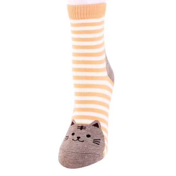 De gele Gestreepte Sokken met Kattenprint