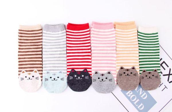 De Gestreepte Sokken met Kattenprint is er in verschillende kleuren