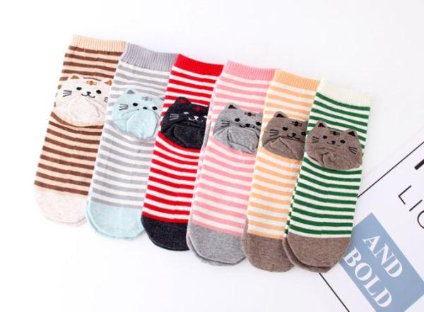 De Gestreepte Sokken met Kattenprint