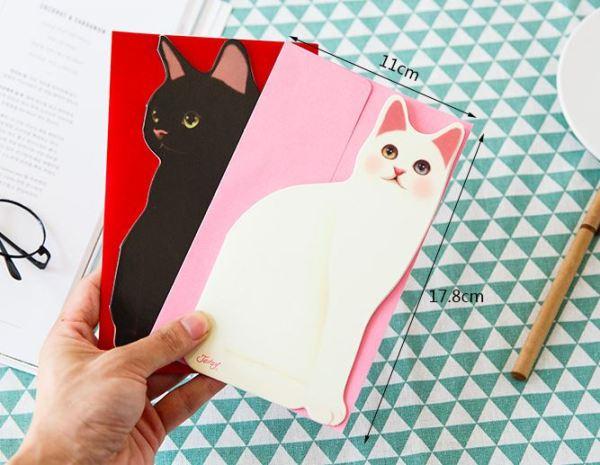 De zwarte en witte 3D Kattenkaarten met Envelop