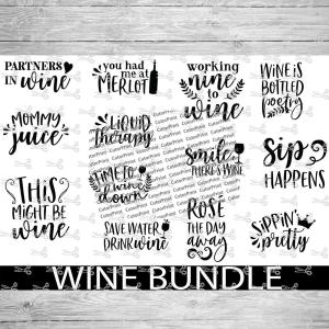 Wine Bundle 2 Svg Eps Png Files Digital Download Files For Cricut Silhouette Cameo And More
