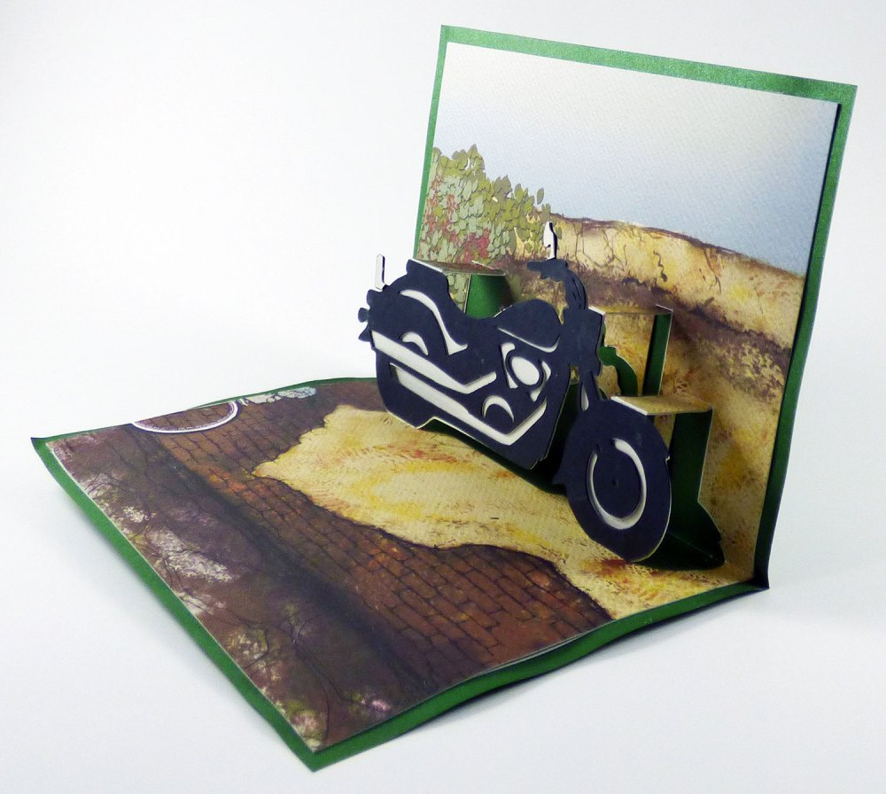Completed Motorcycle Popup Card