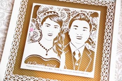 Sketsa wajah paper cutting untuk kado pernikahan unik & eksklusif kepada sahabat, keluarga, teman kerja/kolega