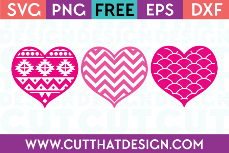 Download Free SVG Patterned Monogram Heart Designs 3   Cut That Design