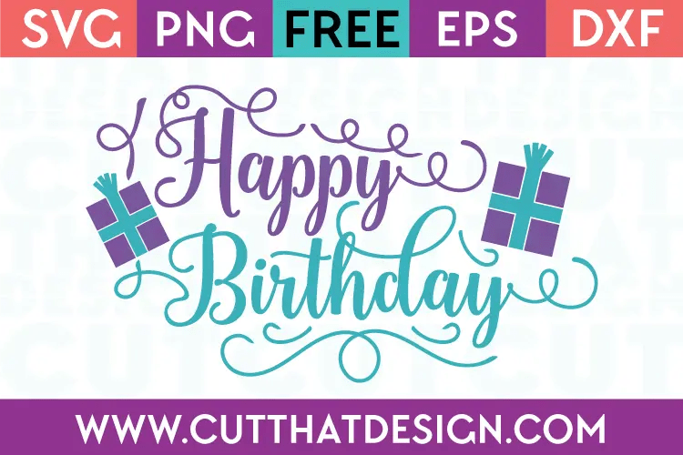 Download Free SVG Files | Happy Birthday Title with Presents Cut ...