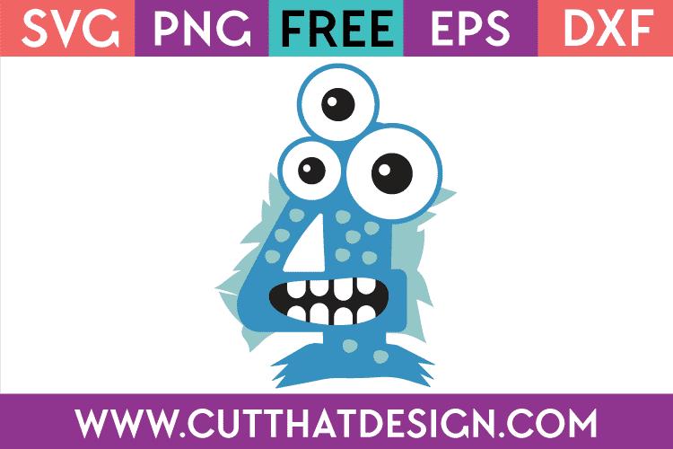 Download Free SVG Files | Free SVG Monster Number 4 Cut That Design