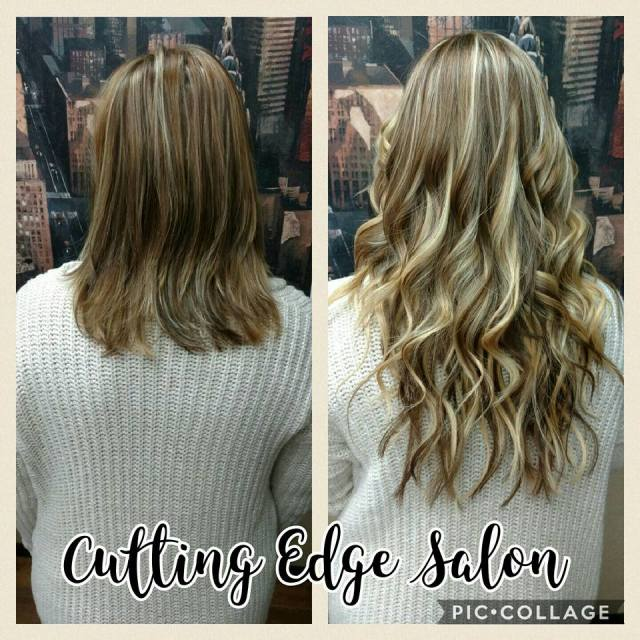 Cutting Edge Salon Foley MN before and after hair extensions