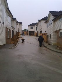 The driveway and townhouses - completed