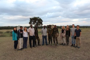 Group photograph with KWS Rangers and Enoch (centre) and Nickson (short-sleeved shirt to the left of KWS