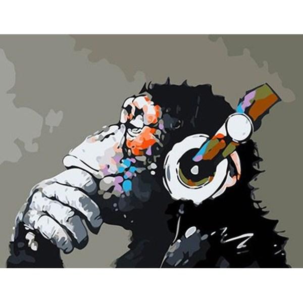 CUADRO PINTURA AL OLEO – MONO MUSICAL 40X50