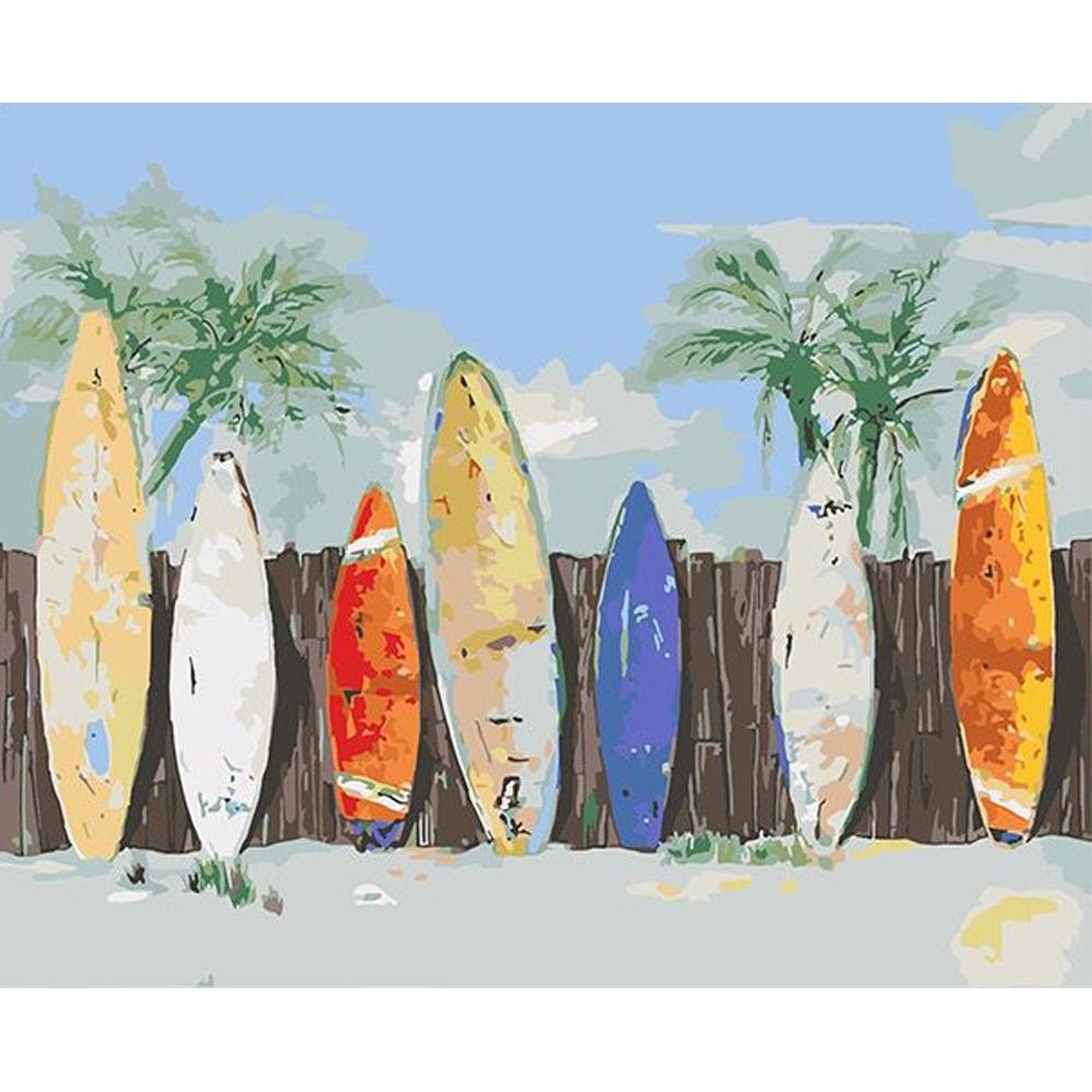 Cuy Games - CUADRO PINTURA AL OLEO - TABLAS DE SURF 40X50 -