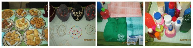 Finished products as displayed by the Catering, Chemical Production, Printing and Bead-making students