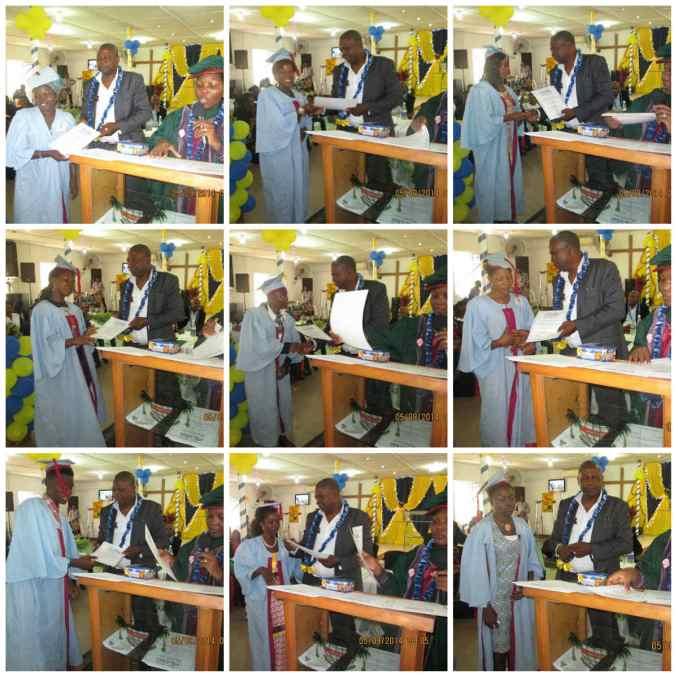 Rev. Dr. Gabriel Oyediji presenting certificates