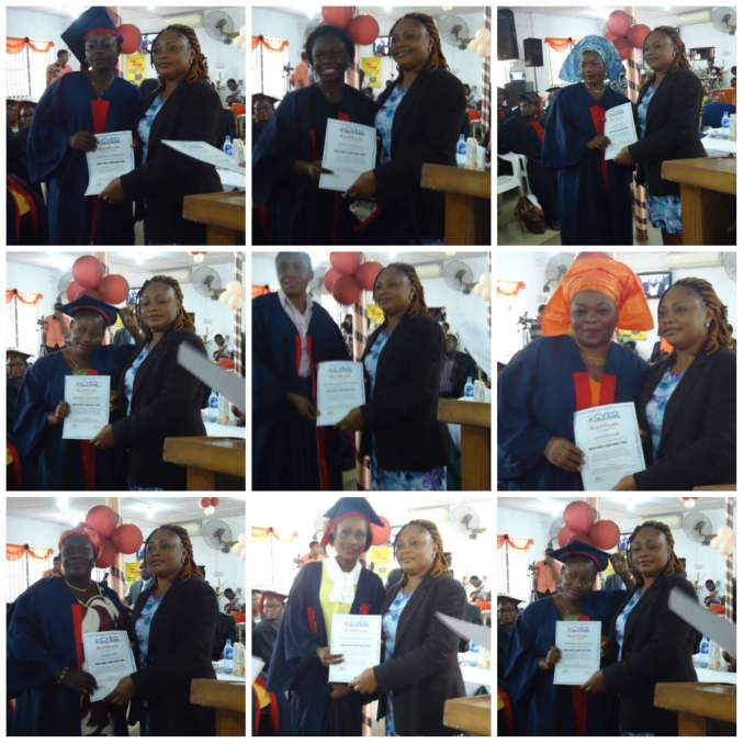 Mrs. Ayanwale presenting certificates to some of the graduands