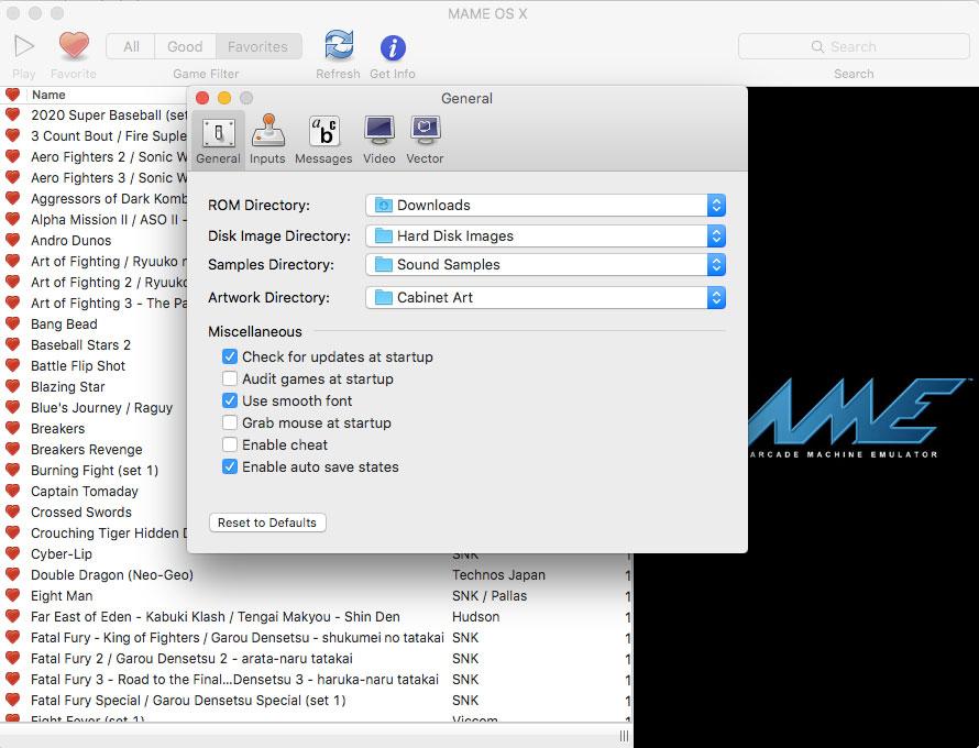 thiết lập chung MAME OS X giả lập Arcade