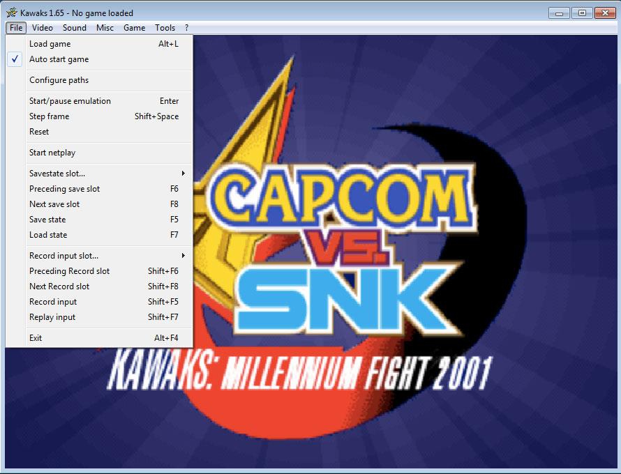 Menu File phần mềm giả lập Arcade Winkawaks