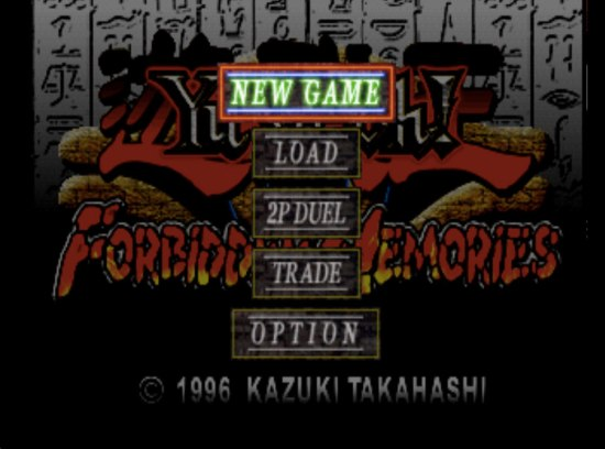 Yu-Gi-Oh! Forbidden Memories Main screen