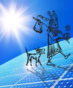 Solar Fool! The Fool avatar and The Dog stroll on top of solar panels. I created this photoshop mashup for the May 2018 IWSG post. Fool components are by artist Xochicalco on canstockphoto, csp6440045