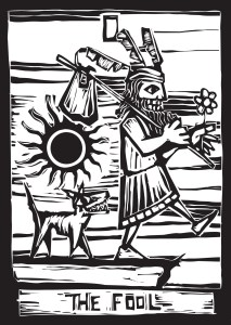 The Fool. My writing alter ego. The dog, the sun, the risk implied by stepping off the cliff. I especially like this minimalist woodcut version of The Fool. I licensed the image from canstock. It appears frequently on my website, whole or deconstructed. You can find the image (and the rest of the deck) on canstockphoto by artist Xochicalo.