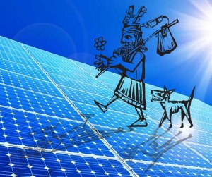 Solar Fool! The Fool avatar and The Dog stroll on top of solar panels. I created this photoshop mashup for my monthly solar reports. Fool components are by artist Xochicalco on canstockphoto, csp6440045