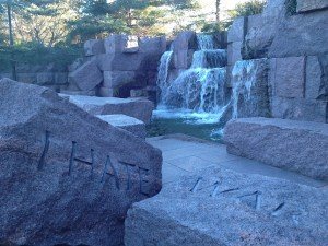 The FDR Memorial expresses the president's hate of war.