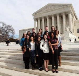 Students stand in front of the Supreme Court during the 2012 Close Up field trip