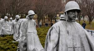 The Korean War Memorial features statues of American soldiers.