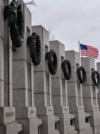 Students visited the World War II Memorial.