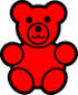 simple drawing of a red bear