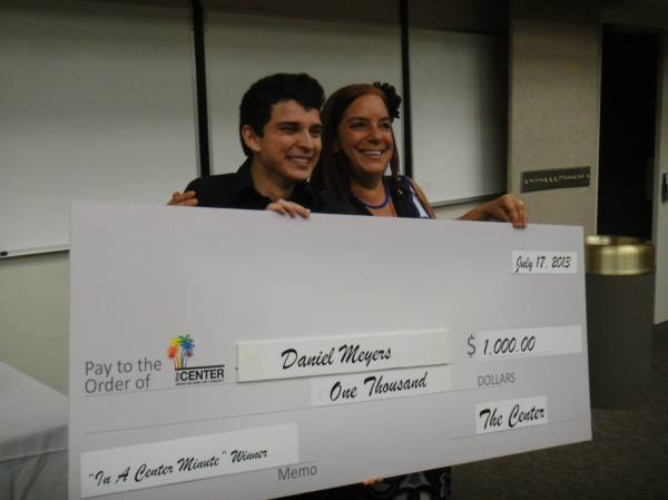 Daniel Meyers, the student-category winner, poses with LGBT Center volunteer coordinator Shann Carr. Photo courtesy of the Center.