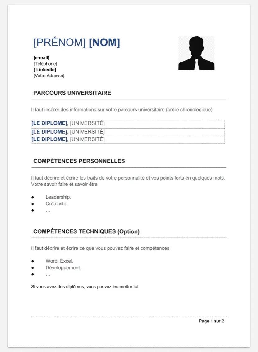 Le site d'emploi pour les étudiants. 3 Exemples De Cv Pour Un Job Etudiant Modeles Word A Suivre