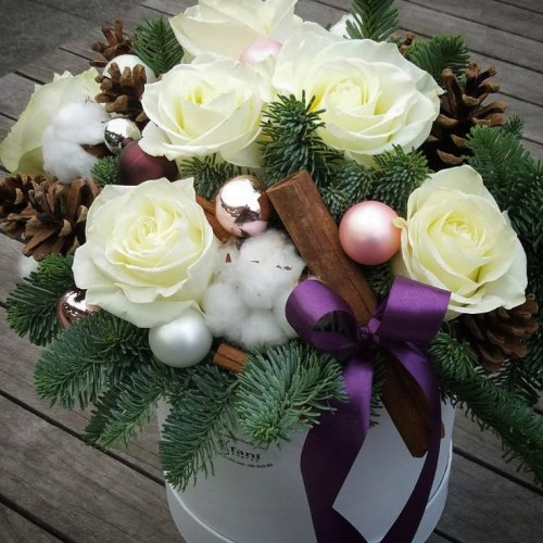 božićni flower box bijeli