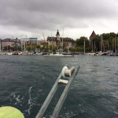 Départ Ruban Bleu 2019 : vue du bateau start devant Ouchy