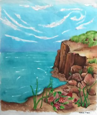 Deb Sigel: Secluded Beach–Jaquard textile paint on cotton fabric