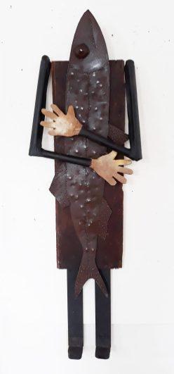 """Janet Van Fleet: Hugging a Fish; steel, wood, rubber; 56x18x5"""""""