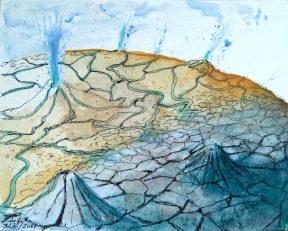 Deb Sigel: Planetary Body: Ink & Watercolor
