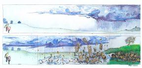 Deb Sigel: Spring Shower: Ink & Watercolor