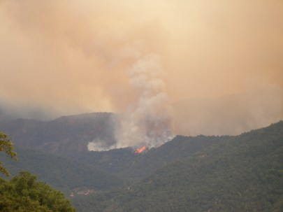 Basin complex fire. Taken from the property top of Trampa Canyon.