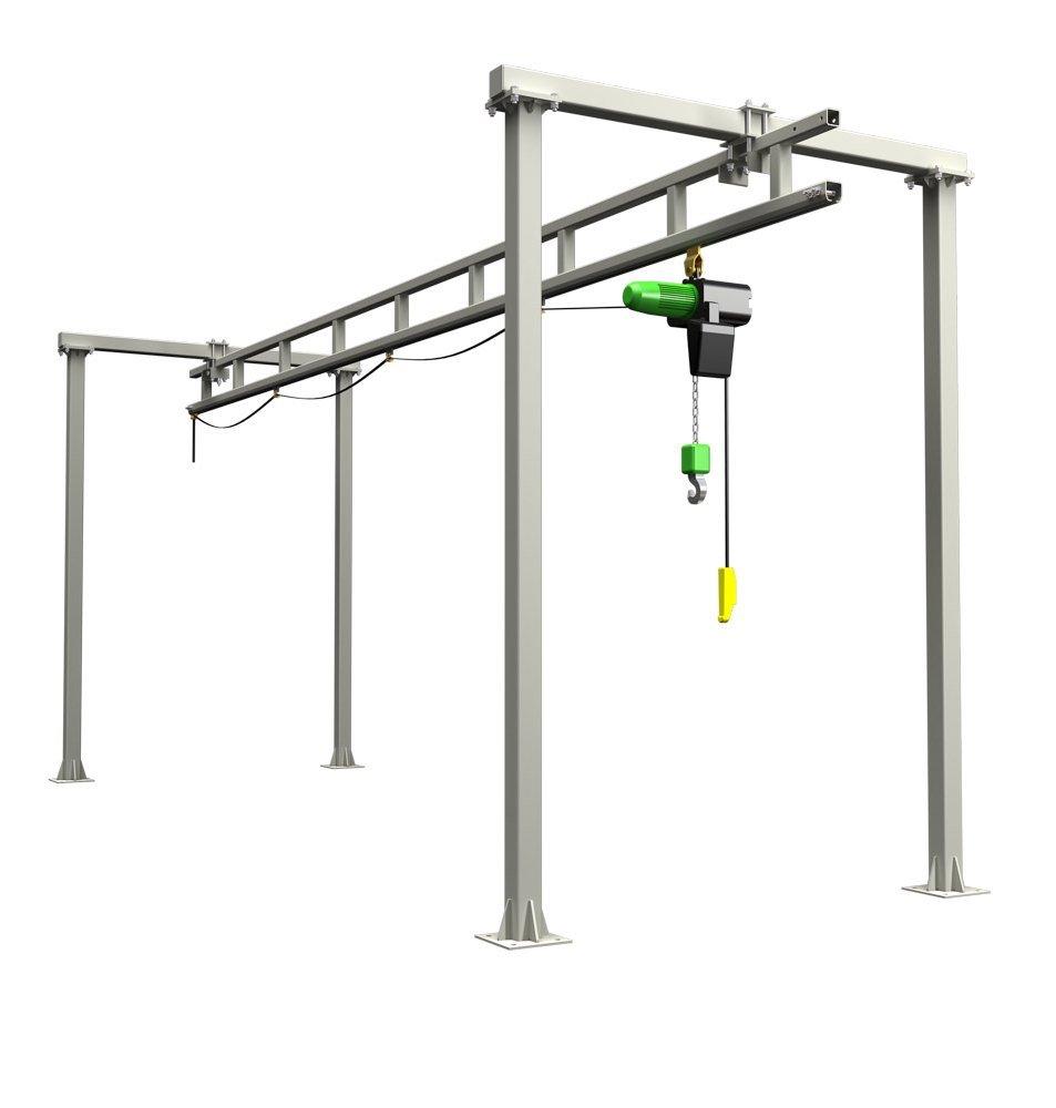 Workstation Crane Systems : Free standing enclosed track workstation crane runway