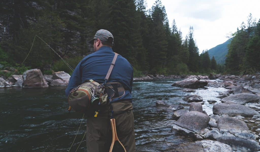 fishing for trout in a stream