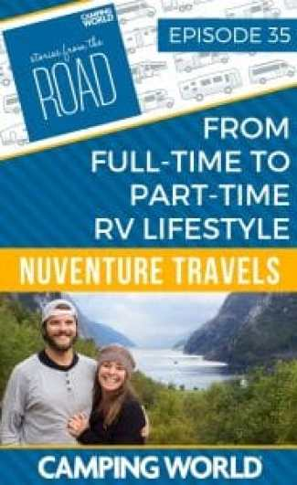 """Adam and Lindsey Nubern recently transitioned from full-time RVing to a new style of travel they call """"base camping"""", which they believe gives them the ultimate freedom! In this episode, they share what this base camping and part-time travel lifestyle looks like to them and also we get a first look at Lindsey's new book """"501 Questions: A Travel Game""""! #rvlife #rvcampers #rvhack #rvliving #camper #camping #camperlife #happycamper #fulltimerving #fulltimervlife #storiesfromtheroad #digitalnomad"""