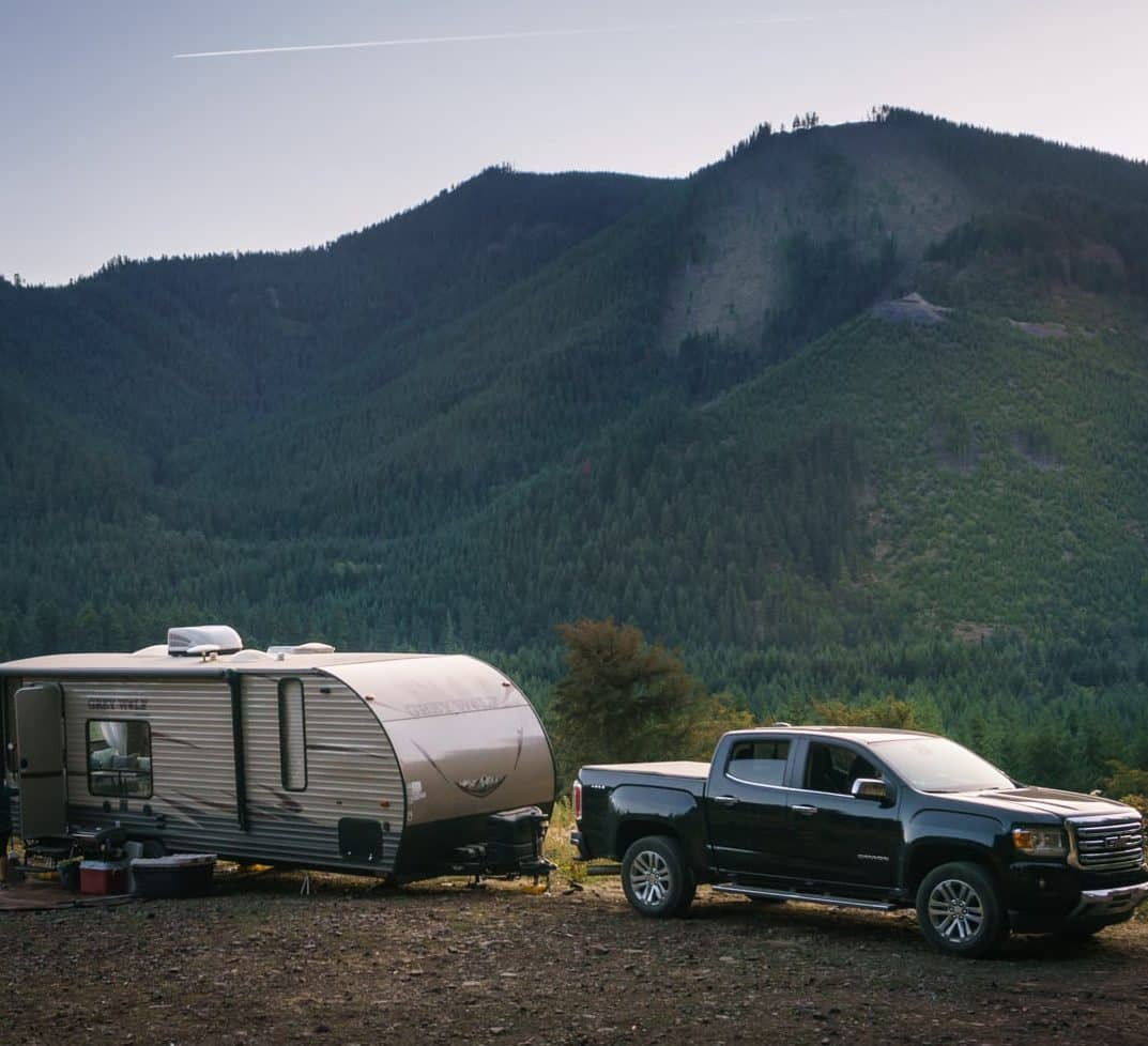 An RVer finds a boondocking spot just outside Mt. Ranier National Park.
