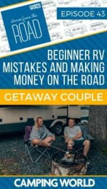 Rae and Jason Miller from Getaway Couple have been RVing full-time since July 2017. They have become the face of beginner RV mistakes on their YouTube channel and publish income reports on their blog about making money on the road. #rvlife #rvcampers #rvhack #rvliving #camper #camping #campertrailers #camperlife #happycamper #fulltimerving #fulltimervlife #storiesfromtheroad