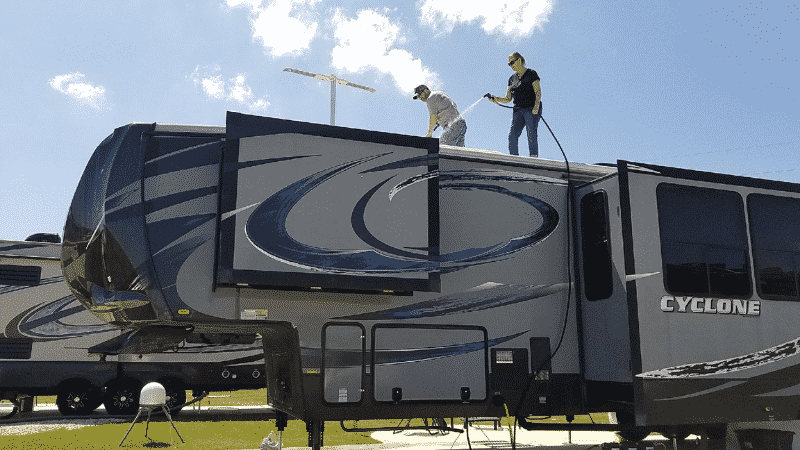 Proper care of your RV roof includes gentle cleaning a couple of times a year.